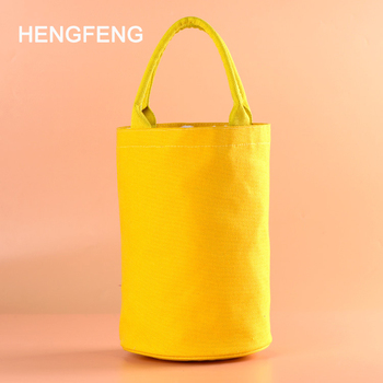 Top selling Hengfeng round canvas lunch bag organic handle round canvas bucket bag