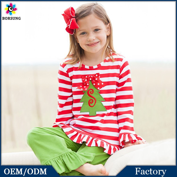 2PCS Fall\Winter 100% Cotton Christmas Family Pajamas Long Ruffled Suits Kids Clothes Giggle Moon Remake Outfits