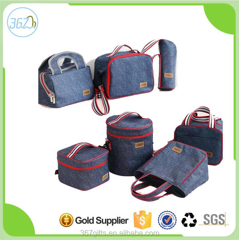 Denim Blue Thickened Insulated Lunch Cooler Bag Travel Picnic Cooler Bag