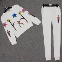 Cartoon villain five - star embroidery color Sequin sweater pants lady suit