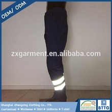 Black Breathable Durable Fabric in 65%polyester 35%cotton Reflective Tape Work Pants
