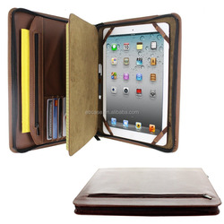 Premium PU leather portfolio tablet Case with Notepad Holder and Zipper Pockets for iPad 2,3,4,air, air 2,Pro 9.7