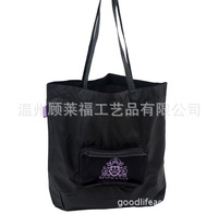 Recycle polyester foldable travel bag with pocket