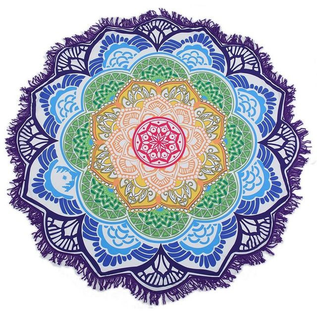 Indian mandala roundie round 100% cotton round beach towels Yoga mat Table cloth with tassels fringe