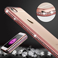 Luxury Bling Diamond Frame Transparent TPU Case For Iphone 6 6S 4.7 Soft Silicone Cover Plating Edge Rose Gold Case Capa