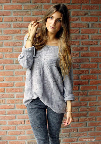 Shoulder Cut Out Sweater - Grey