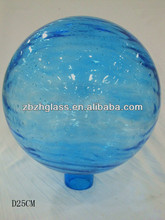 "10"" hand blown glass gazing ball,solid glass ,blue color and 25cm"