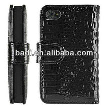 Black Wallet Style Magnetic Flip Textured Crocodile Leather Case leather cover with Credit Card and ID Slots for iPhone 4 4s