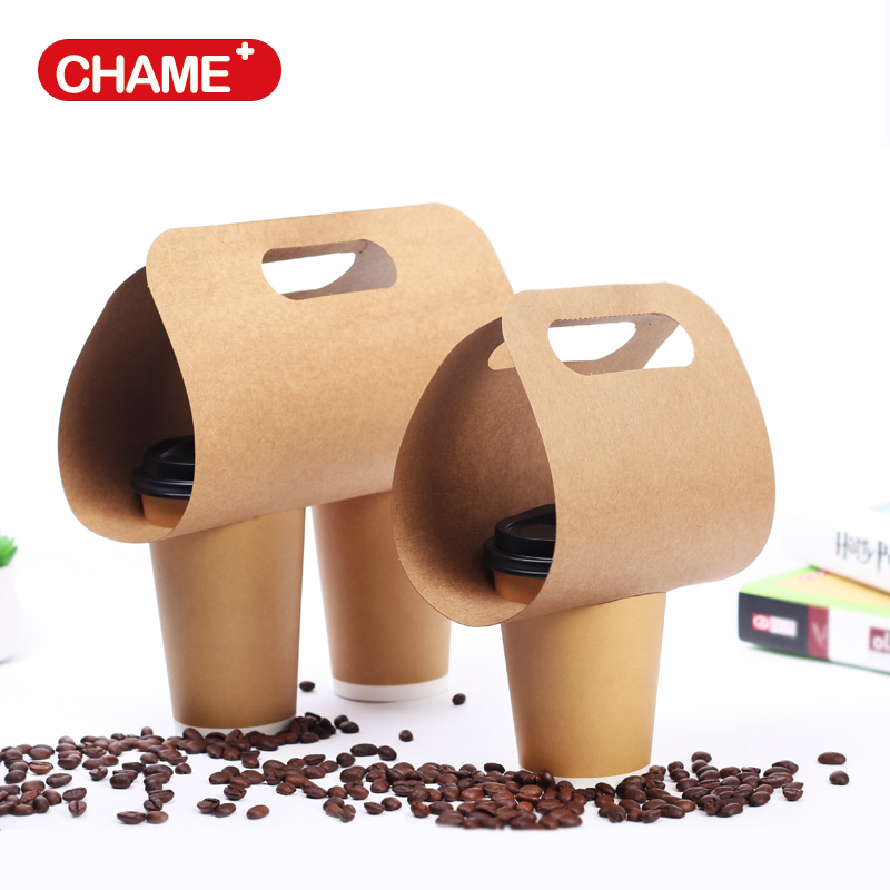 2/4 cups kraft/cardboard paper coffee cup holder/carrier