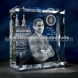 Laser Photo Engraved Obama 3D Portrait Crystal