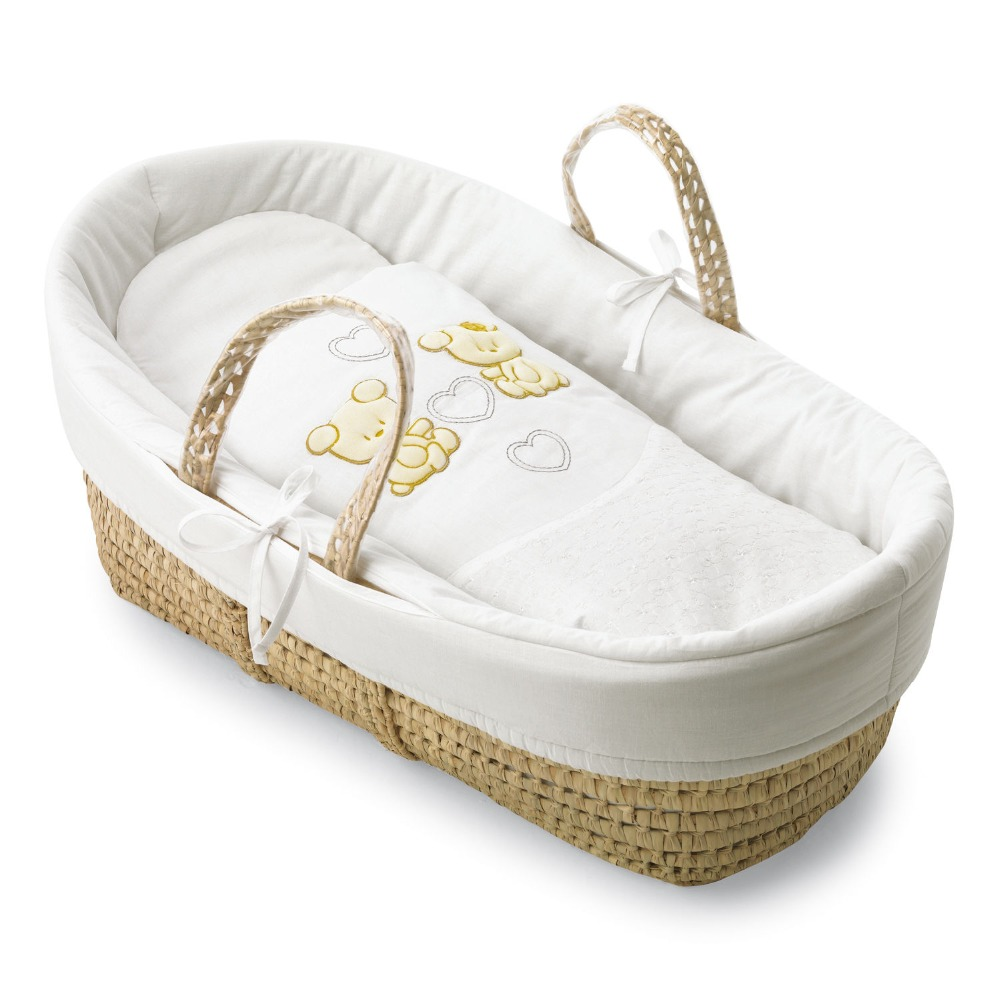 How To Weave A Moses Basket : Woven straw baby bassinet crib basket moses buy