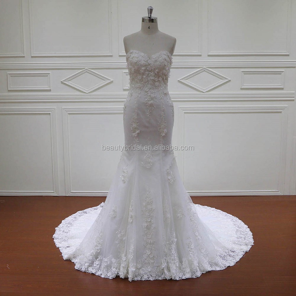 HD004 guangzhou alibaba 3D flowers mermaid bridal gowns