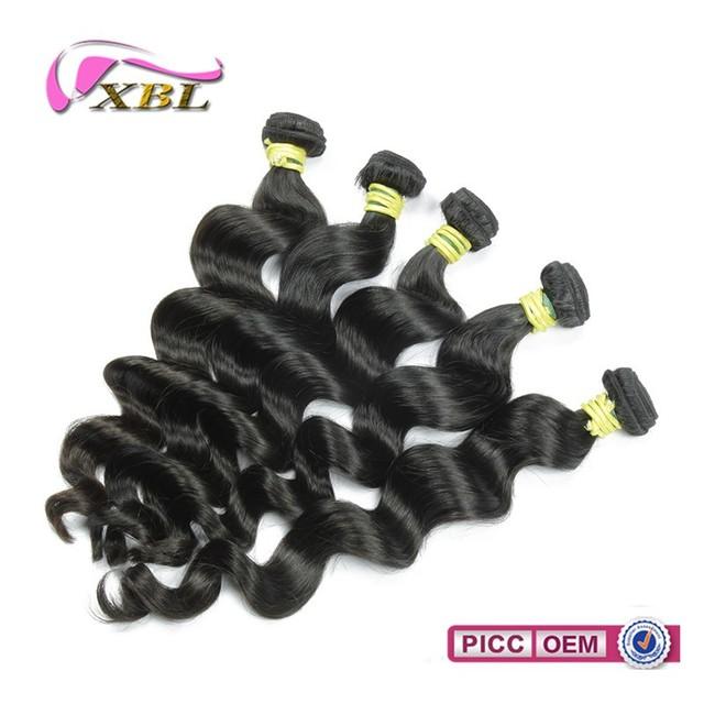 Top quality virgin Peruvian natural human hair wavy machine weft