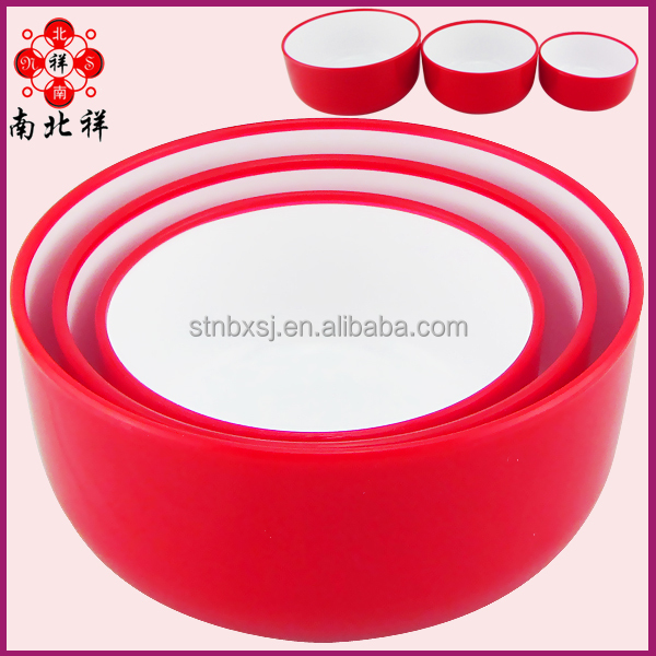 Three piece Double Color Plastic Salad Bowl Japanese Noodles Bowl