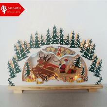 Wooden Arches Crafts For Christmas Decoration With Led Lights,2*aa Battery Box,Christmas Wood Craft Patterns