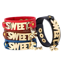 PK0594 Colorful PU Leather Charms Bracelet Gold Letter Sweet Charms Leather snap bracelet Christmas Gift leather bracelet women