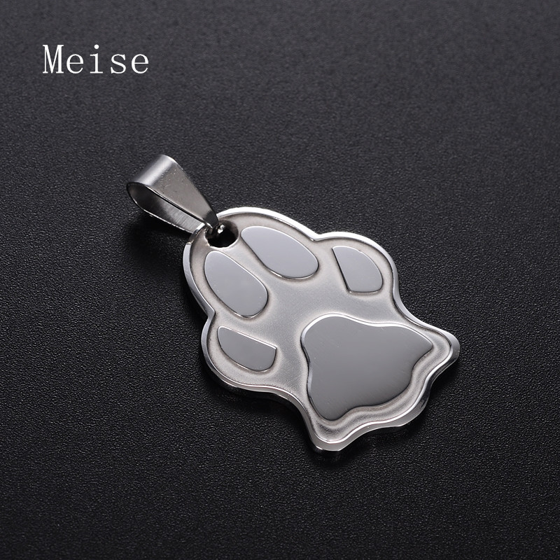 Yiwu Meise Fashion Dog Pet Jewelry Stainless Steel Bear Paw Print Pendants