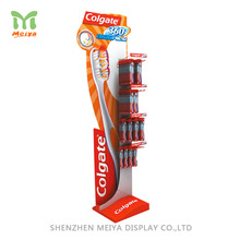 Supermarket Pop Corrugated Cardboard Shelf Tooth Brush Display Rack With Peg Hooks