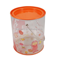 clear plastic paint cans container with handle for crafts