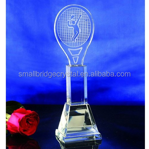 Wholesale Etched Crystal Sports trophy for Tennis sports souvenir gifts
