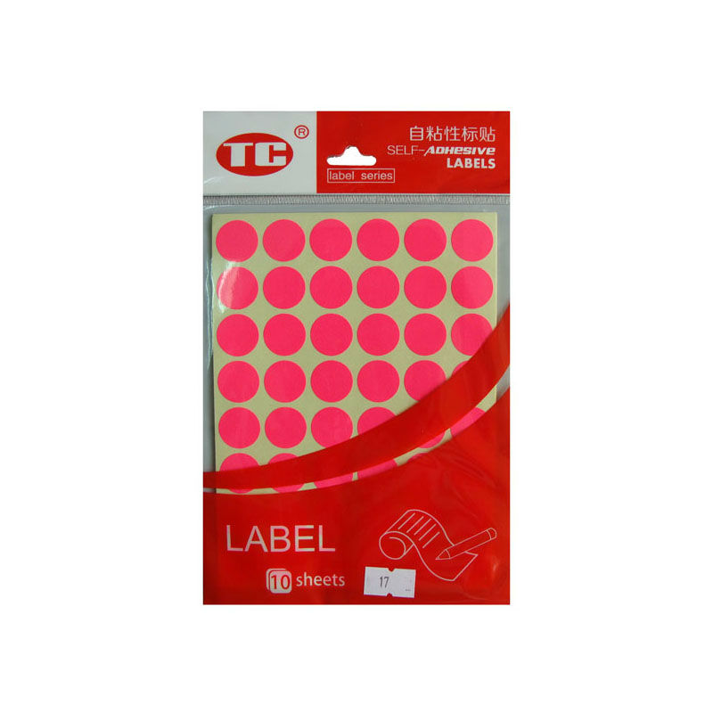 Pink Color Indication Label Stickers 10 Sheets Diameter 17mm