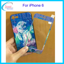 360 Design 3D Printing Shockproof Full Protective TPU PC Cover With Tempered Glass Screen Protector For iPhone 6 Case