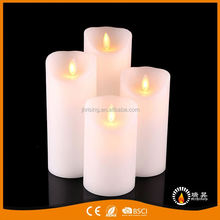 RISING China manufacturer pillar moving flame paraffin wax candles flameless led candle light