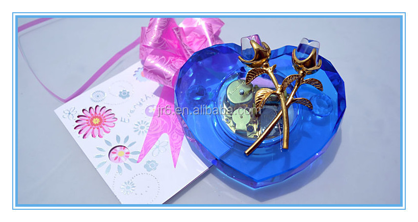 heart shaped blue crystal music box rose,best gift for birthday