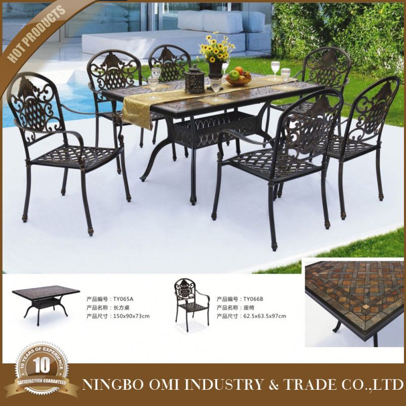 Cast Aluminum Bistro Table & High Back Arm Chair Patio Furniture