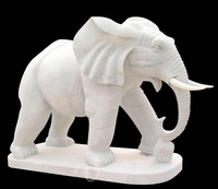 Outdoor decoration stone carvings and sculptures marble elephant life size animals