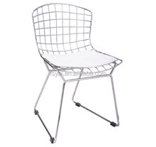 wholesale leisure dining chromed steel replica bertoia wire chair