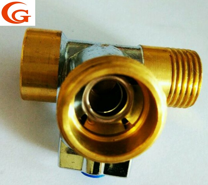 brass ball valve tee reducing brass tee M 3/4'' F 1/2'' <strong>M1</strong>/2'' chrome plated