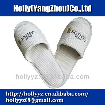Hot sale open toe adult waffle weave slipper for hotel