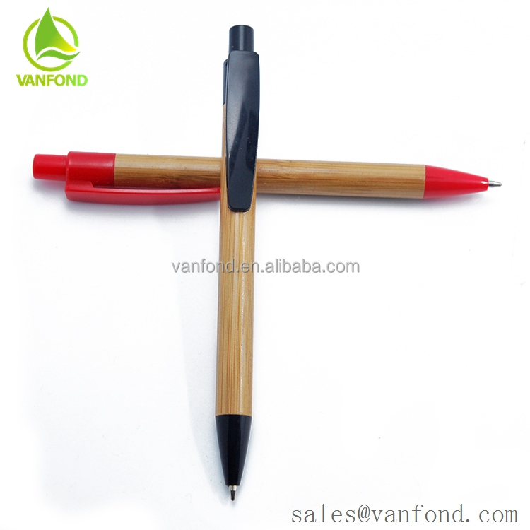 China Recycled Bamboo Barrel Plastic Clip ECO Friendly Ballpoint Pen