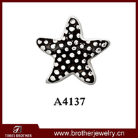 open locket charm black silver starfish floating charm for glass locket