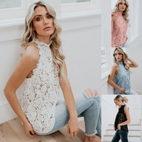 Floral Lace Hollow Out Women Shirts Sleeveless Casual Ladies Summer Blouses 2019 Fashion Elegant Sexy Basic Tops Coldker