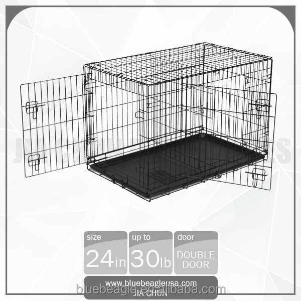 "24"" Double Doors Folding Kennel Dog Cage [ Also Available 30"" 36"" 42"" 48"" ]"