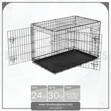"24"" Double Doors Folding Kennel Dog Cage"