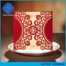 New Arrival Chinese Red Color Laser Cut Wedding Cards Invitation with Hollow Flower