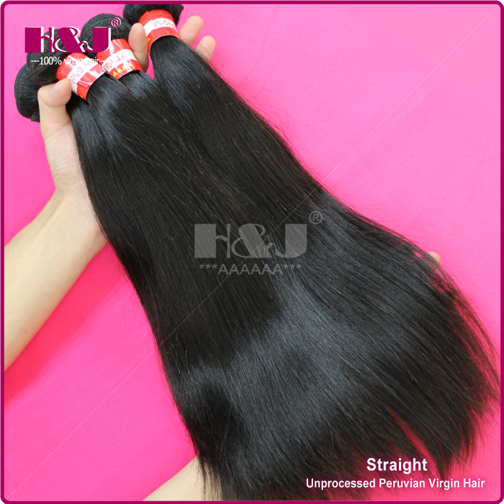 No Shedding Jet Black Smooth Peerless Straight Peruvian Hair Weft Hair Wholesale