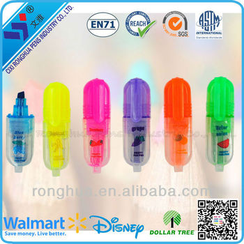 2015 New design cartoon Cute mini highlighter pen set