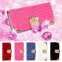 Magnetic diamond wallet leather flip case cover for iphone 5