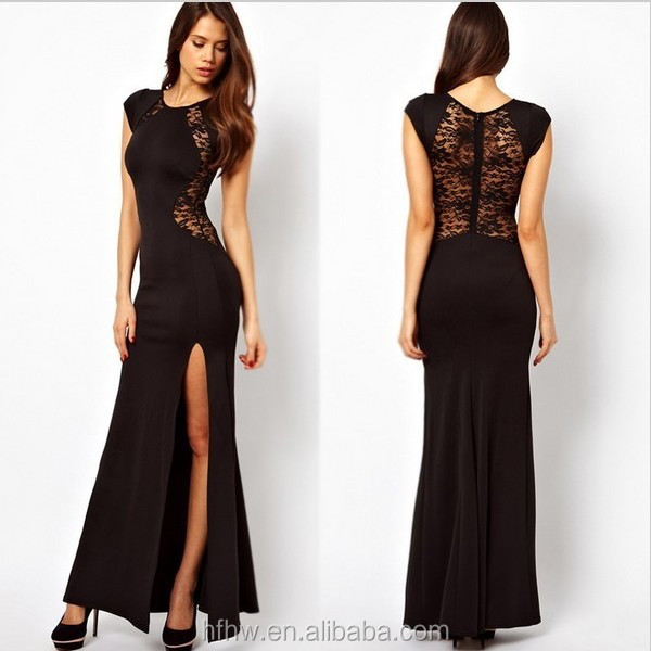 Through Lace Long Sleeve Backless Black Floor Length Formal Celebrity Gown Evening Dress 2014
