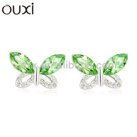 2014 fashionable butterfly earrings made with Austria Crystal OUXI Jewelry20670