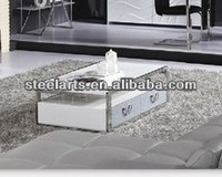 Steel-arts modern stainless steel frame coffee table high gloss G69