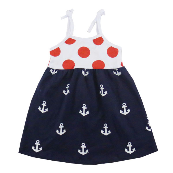 Fashion High Quality Baby Clothes Anchor Printing Lovely Comfortable Summer Condole Girls Dress