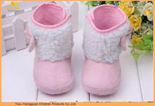 Cute baby snow shoes/wholesale soft sole baby girl boots /furry baby first walk snow boots with bowknot