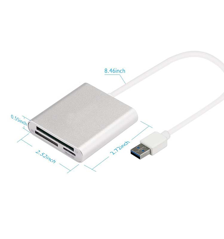 Super speed USB 3.0 Multi-In-1 Card Reader for SD Card/CF Card/Micro USB SD Card
