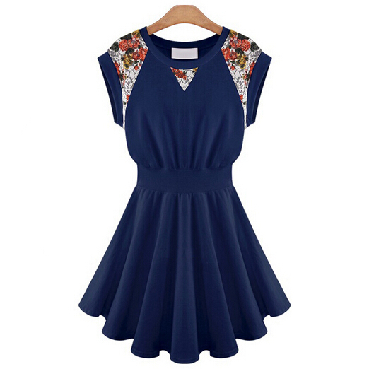 womens summer dresses 2015 summer style Sleeveless Casual Dress White Dark blue Ball Gown dress plus size lace vintage dress