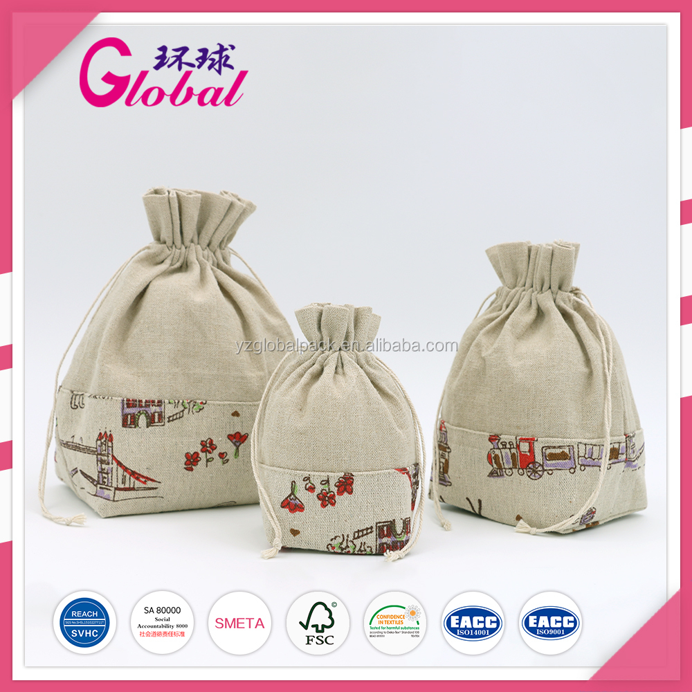 Global Natural Color with printing cotton canvas drawstring dust bags